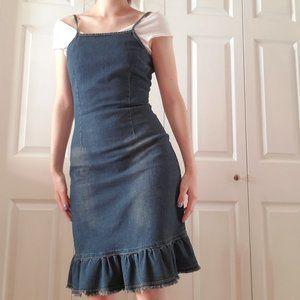 Vintage 90s Garage denim spaghetti straps dress